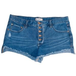 Free People high-waisted denim distressed short 29
